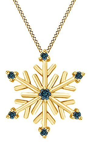 Jewel Zone US Blue Natural Diamond Snowflake Pendant Necklace 14k Yellow Gold Over Sterling Silver ()