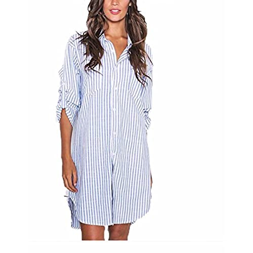 Auxo Camisas Blancas Algodón Mujer Vestidos Cortos Camiseta Manga Larga Blusas Rayas Azul y Blanco ES 42/Asia XL