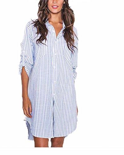 Auxo Women Shirt Dress Long Sleeve Pocket Collar Button Striped Long Shirt Casual Loose Tunic Top Blouse Blue&White 2XL