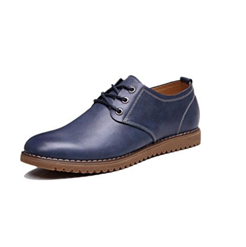 Hommes Sport Chaussures Point Ronde Bottes zmlsc Saison Casual Sandales Souple Blue en Cuir Point Couleur Toile Ruban D'affaires fCFqw5