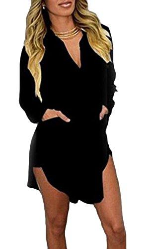 Color Neck Plus Short Sleeve Chiffon Dress Black Long Shirt V Size Solid Cromoncent Irregular Womens nwavcqpYYz