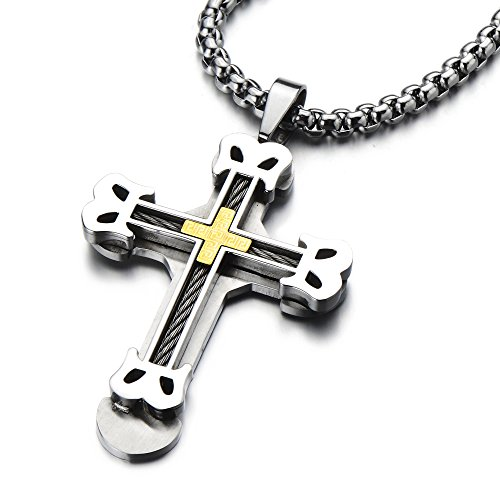 (COOLSTEELANDBEYOND Mens Large Masculine Cross Pendant Necklace Steel with Steel Cable Inlay, 30 Inches Wheat Chain)
