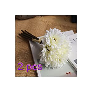 YUIOP 14 Pieces Fake Jamesonii Daisy white Silk Artificial Gerbera Flower Bouquet Flower Bush Bouquet for Bride Bridesmaid Holding Living Room Arrangement Office Party Garden DIY Decoration 78