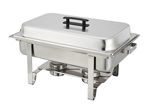 Tiger Chef 8 Quart Full Size Stainless Steel Chafer with Folding Frame and 2 Half Size Chafing Dishes Food Pans and Cool-Touch Plastic Handle on Top by Tiger Chef (Image #1)