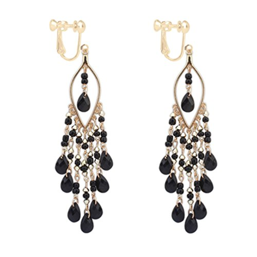 Long Boho Beaded Teadrop Tassels Clip on Dangle Earrings Back Screw Jewelry for Women Girls Black