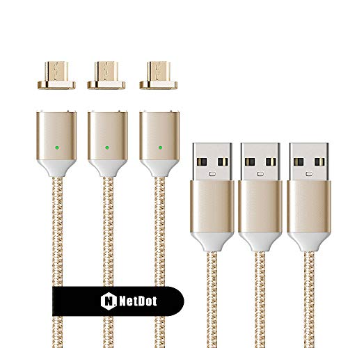 NetDot 3 Pack 2nd Generation 1m/3.3ft Nylon Bradied USB2.0 Fast Charging Magnetic Micro USB Cable with LED Indicator Compatible with Android Device (3.3FT / 3 Pack Gold)