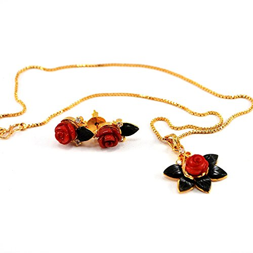 Red Coral & Green Aventurine Flower Pendant Gold Necklace & Earring Set N15032021c