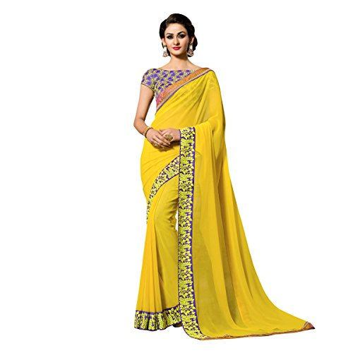 Mohit Creations Designer Embroidered Work Partywear Georgette Saree with Unstitched Blouse (Yellow)