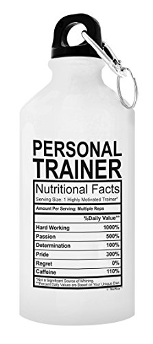 ThisWear Personal Trainer Gifts for Women Personal Trainer Nutritional Facts Personal Trainer Gift Ideas Gift 20-oz Aluminum Water Bottle with Carabiner Clip Top White