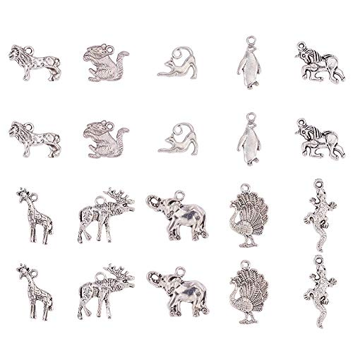 (PH PandaHall 30pcs 10 Style Antique Silver Tibetan Alloy Unicorn Cat Animals Charms Pendant Beads Charms for DIY Bracelet Necklace Jewelry Making)