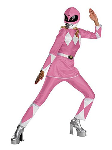 Disguise Unisex Adult Deluxe Power Ranger, Pink/White, Large (12-14) Costume -