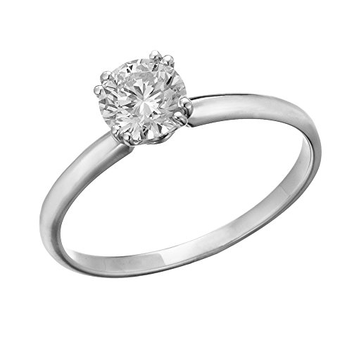 IGI Certified 14k white-gold Round Cut Diamond Engagement Ring (0.42 cttw, H Color, SI1 Clarity) - size - Good Clarity Very Color Si1