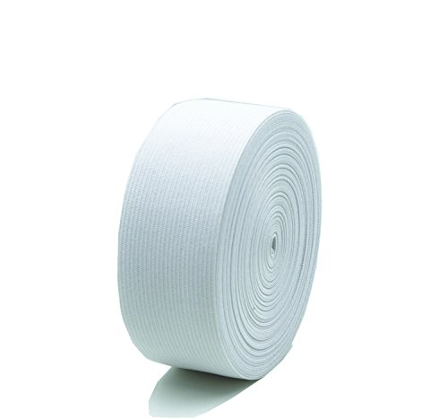 Polyester Elastic Spool 1.5 Inch x 16 Yard, Springy Stretch Knitting Sewing Bands for Sewing and Knitting - White