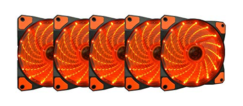 APEVIA AF512L-SOG 120mm Orange LED Ultra Silent Case Fan w/ 15 LEDs & Anti-Vibration Rubber Pads (5-pk)