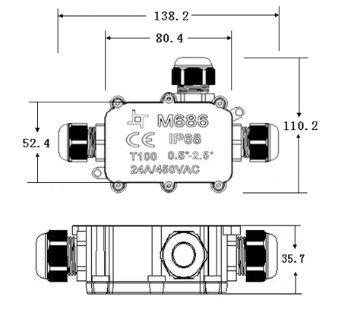 certifications VDE /& CE Bo/îte de distribution /étanche 24/A 450/V CA bo/îte de raccordement de c/âbles IP68,/c/âble de terre 3/broches trois ouvertures 4/m de profondeur deau
