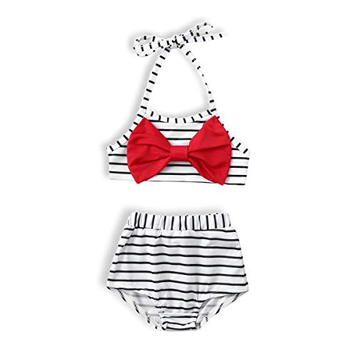 Piece Striped Bathing Suit - WISWELL Baby Girl Striped Swimsuit Bikini Infant Girl Halter 2-Piece Bathing Suit with Bowknot Outfits (White, 4-5 Years)