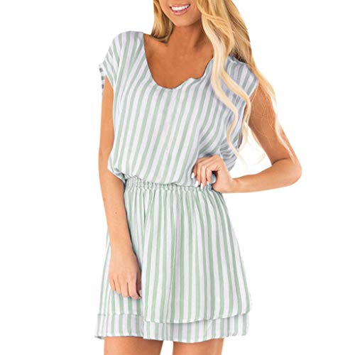 Women's Striped one-Piece Shorts Loose Round Neck Summer Casual Short-Sleeved Jumpsuit MEEYA Green -