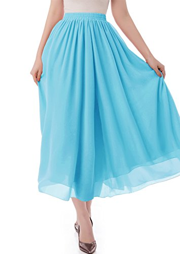 - malishow Women's Long Chiffon Skirt Pleated Retro Beach Skirts A-line Maxi Dress Blue L