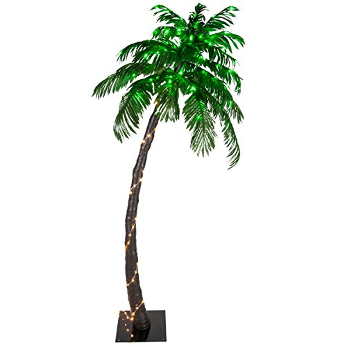 Kringle Traditions 10 Function LED Lighted Palm Tree - Pre-Lit Palm Tree Indoor/Outdoor - Remoted Controlled with Timer (6 Ft)