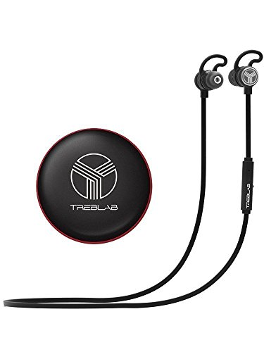 TREBLAB J1 Bluetooth Earbuds, Best Wireless Headphones For Sports, Running And Travel. 2017 New Model. IPX6 Waterproof, Sweatproof, Secure-Fit Headset. Noise Cancelling Earphones w/ Microphone
