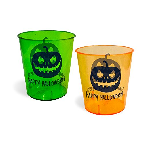 Halloween Shot Glasses - Durable Plastic - 1 Oz. - With Happy Halloween Design - 24 Pack - 12 Pieces Green, 12 Pieces Orange - Perfect For Parties - Get Dressed Up & Drunk
