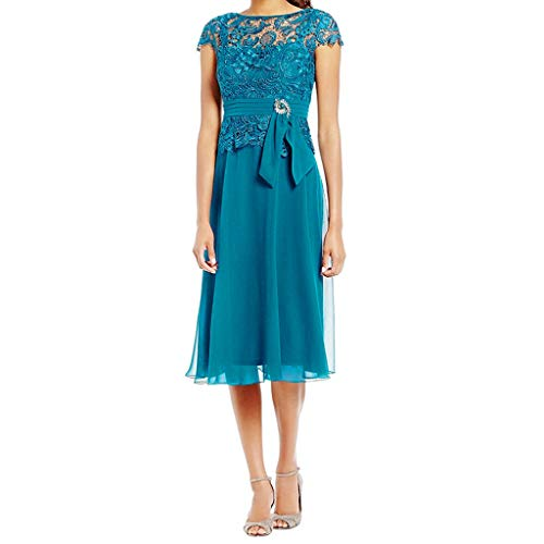 - Nmch Women's Plus Size Sexy Lace Patchwork Cap Sleeve Midi Dress Vintage Empire Waist Wedding Party Bridesmaid Dresses(Blue,XXL)