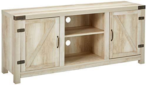 Amazon Com We Furniture White Oak Barn Door Tv Stand 58 For Flat