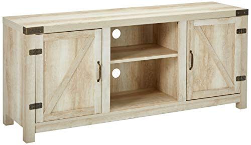 "WE Furniture White Oak Barn Door TV Stand 58"" for Flat Screen TV"