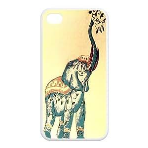 mkCase Elefante Arte cubierta animal lindo personalizado del diseño TPU (cáscara dura) Funda para el iPhone 4 / 4s