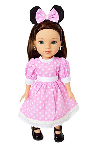 My Brittany's Pink Mouse Dress for Wellie Wisher Dolls, Hearts for Hearts, Glitter Girls Dolls- 14 Inch Doll - Pink Dress Heart