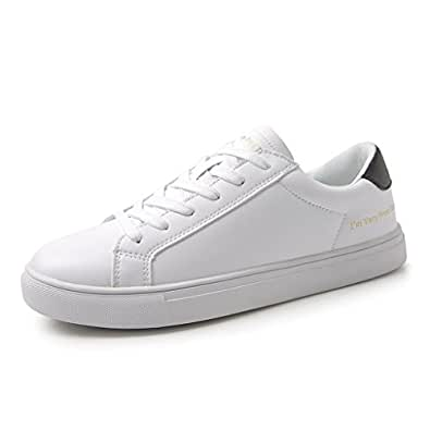 Skateboarding Shoes - Fashion White Breathable Flat Shoes Lace Up Women Casual Sports Shoes (Color : Black, Size : 35)