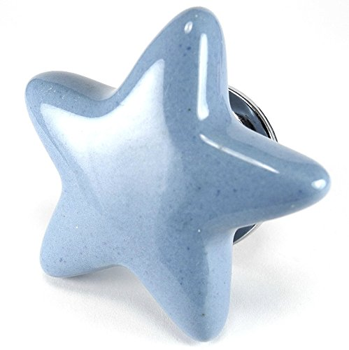 Periwinkle Blue Ceramic Star Cabinet Knobs, Drawer Pulls & Handles Set/2pc ~ C88 Ceramic Star Shape Knobs for Cabinets, Children's Dresser, Kitchen Cabinets and Cupboards with Chrome ()