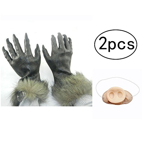 [ZSTVIVA Halloween Decor, Horrible Wolf Gloves Latex Unisex Hair Wolf Claws Adult Costumes with One Ugly Pig Nose Mask for Halloween Party Celebration] (Red Phone Booth Costume)