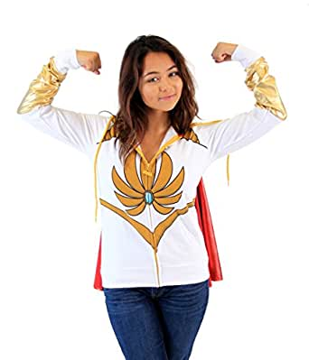 Masters Of The Universe I Am She Ra White Hoodie With Cape (Juniors Small)