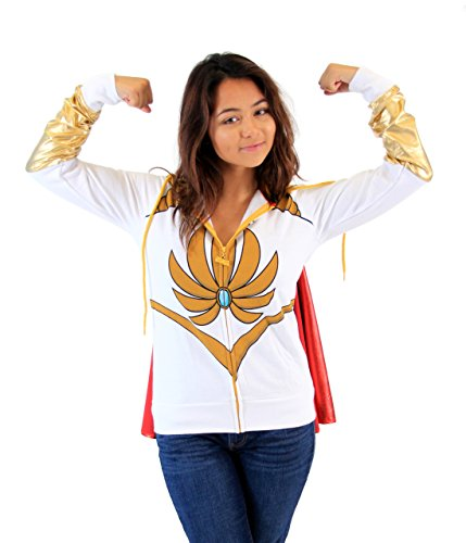 Masters Of The Universe I Am She Ra White Hoodie With Cape (Juniors X-Large) -