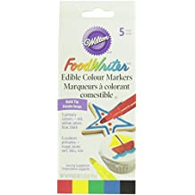 Wilton 2201-4028 Set of 5 Bold Tip Food Writer Edible Color Markers, Primary Colors