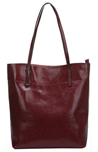 Melete Women's Handbag Genuine Leather Tote Shoulder Bags Soft Hot Wine-red