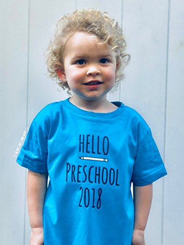 Hello Preschool 2018, First Day of School, Toddler Pre-K Shirt, Short Sleeve, Blue, Size 4T by I Heart Art and Baby
