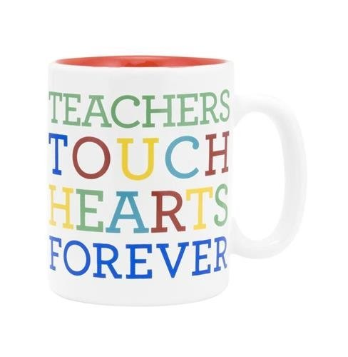 Special Teacher Mug - About Face Designs Teachers Touch Hearts Coffee Mug 12oz Ceramic