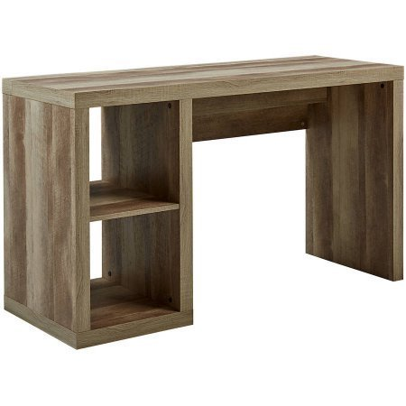 Better Homes and Gardens Cube Organizer Home Office Desk Made of Medium-Density Fibreboard Wood with Built-in Cable Door on Desktop (Weathered) by Better Homes & Gardens (Image #1)