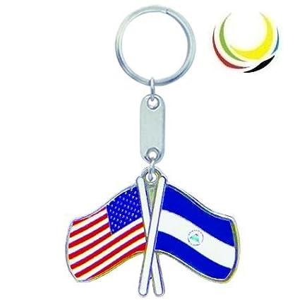 Keychain USA-NICARAGUA FLAGS