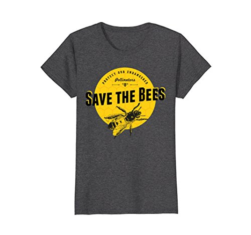Womens T-shirt Bee (Womens Save the Bees T-Shirt - Save Our Endangered Pollinators Tee Medium Dark Heather)