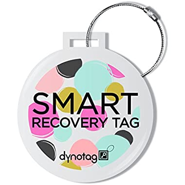 Dynotag® Web/GPS Enabled QR Smart Deluxe Steel Luggage Tag & Braided Steel Loop (Dots)