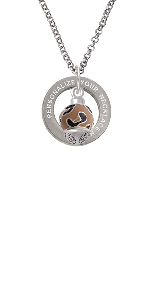 Wide Cheetah Print Band Spinner Custom Engraved Affirmation Ring Necklace