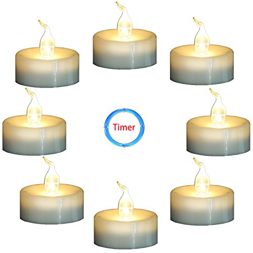 Flameless flickering candles with timer.