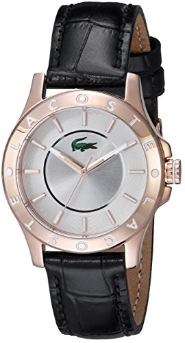 Lacoste Madeira Three-Hand Rose Gold and Black Leather Women's watch #2000860