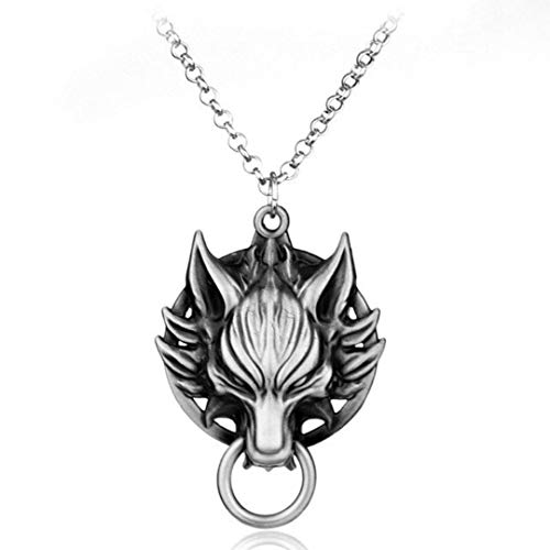 Dan's Collectibles and More Cloud Wolf Head Final Fantasy VII 7 Pendant Necklace RPG Japanese Jewelry Silver Colored Video Game Sephiroth Buster Blade Sword Tifa Tidus Squal w/Gift Box (Tidus)