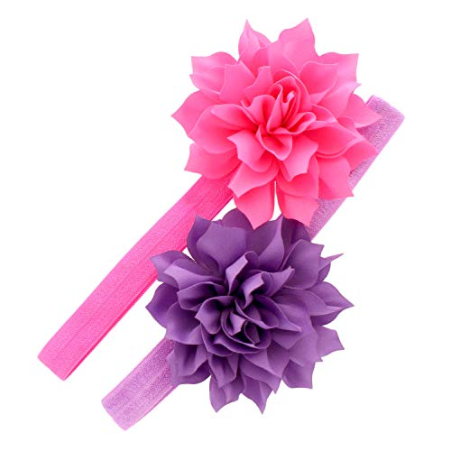 My Lello Baby Petal Flower Headbands Mixed Colors 2-Pack (Hot Pink/Lavender) ()