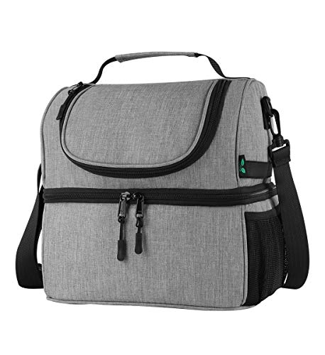 F40C4TMP Lunch Box Insulated Double Deck Lunch Bag for Men Women 12 Cans Leakproof Dual Compartment Cooler Tote Keep Warm and Cold with Bottle Side Pocket and shoulder Strap for School Camping Grey