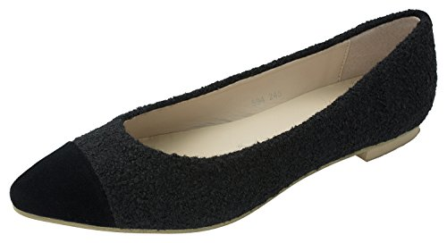 Shoes Boucle Flats Pointy Black Ballet Womens Toe B7Tqw6X